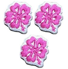 Pink Mini Hibiscus Applique Patch - Tropical Flower (3-Pack, Mini, Iron on)