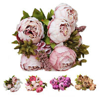 1Bouquet 8 Heads Artificial Peony Silk Flower Leaf Home Wedding Party Decor T9F3
