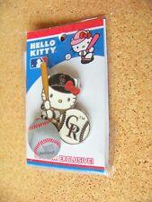 Colorado Rockies Hello Kitty batter & baseball CR lapel pin MLB light yellowing