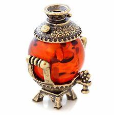 "Russian Decorative Samovar Figurine Brass & Baltic Amber Miniature Souvenir 1"""
