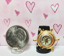 Dollhouse Miniature Ship's Wheel - Brass with Real Compass in the Middle
