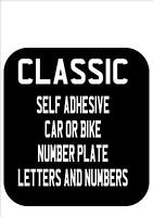 CLASSIC Bike Number Plate Letters numbers stick on 45mm suitable for front plate