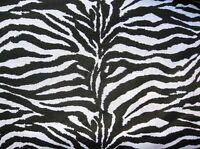 "BLACK + WHITE ZEBRA STRIPES AFRICA WILD ANIMAL BLEND SEW CRAFT 60"" FABRIC BTHY#"