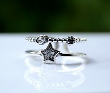 Sterling Silver 925 Double Row Star Moon and Mini Cross Size N Adjustable