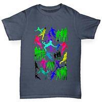 Twisted Envy Boy's Rainbow Soccer Football Silhouettes Premium Cotton T-Shirt