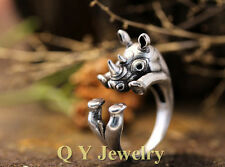 Rhino Animal Ring Adjustable Silver Rhinoceros Finger Wrap Size 5 to 8