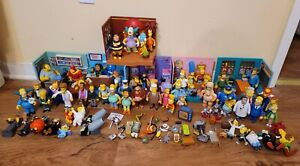Simpsons HUGE Playmates Figure Lot of 50+ And 6 Playsets World of Springfield