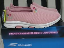 ~Skechers GO WALK 5 - GARLAND Shoes~Pink Floral~SIZE 8 WIDE~NEW IN BOX~