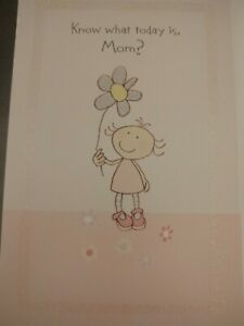 Mother's Day Card Gibson For Mom Girl with Flower