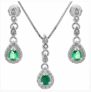 EMERALD DIAMOND SILVER NECKLACE & EARRING SET 2.5 CWT NATURAL MAY  BIRTHSTONE