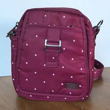 Lug Can Can Crossbody Belt Bag Travel Purse RFID Cranberry Polka Dot EUC