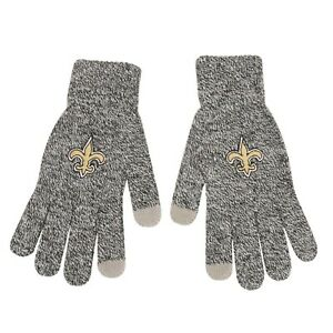 New Orleans Saints NFL Gray Knit Acrlic Gloves W/Texting Tips FREE SHIP!