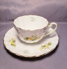 Shelley Fine Bone China Tea Cup And Saucer Yellow Blue Flower Pattern England