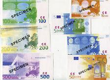SPECIMEN EURO serie compléte des 7 billets