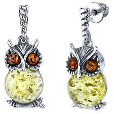 Sterling Silver Cognac Lemon Baltic Amber Drop Dangle Owl Wisdom Earrings