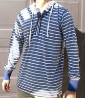 BURNSIDE Men's Casual Shirt White & Blue Cotton With Hoodie T-Shirt New With Tag