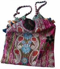 Very colorful embroidery hand bag patchwork jhola shape boho gypsy handbag india