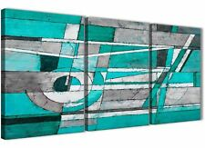 3 Piece Turquoise Grey Painting Kitchen Canvas Decor - Abstract 3403 - 126cm