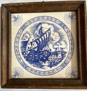 Vintage Painted Ceramic Tile, Cobalt Blue Clipper Ship,