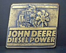 John Deere Engine Group Waterloo Iowa DIESEL POWER Brass Belt Buckle 1989 jd