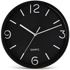 Bernhard Products Black Wall Clock 8 Inch Silent Non Ticking Quartz Battery Easy