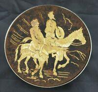 "Collectible Damascene Don Quixote & Sancho Panza Toledo plate Vintage Metal 3"""