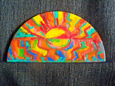 Expressionist Encaustic Painting On Wood Semi-Circle Unsigned Undated 10x6