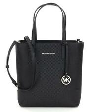 New MICHAEL Michael Kors Hayley Medium NS Top Zip Perforated Leather Tote-Black