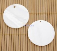 1 PAIR Round Coin Shell Top Hole White Mother of Pearl Jewelry Making 30mm