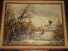 Original BERNARD MARTIN Painting Vintage Signed Oil on Canvas DUCKS Wood Framed