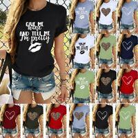 Womens Ladies Summer Loose Tops Short Sleeve Blouse Pullover T Shirt Plus UK