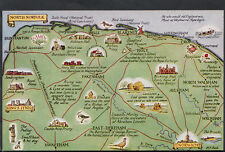 Maps Postcard - Map of North Norfolk, Showing Norwich  RS1894
