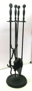 """Vintage Very Large Companion Set Black Fireside Tools Full Set 31"""""""