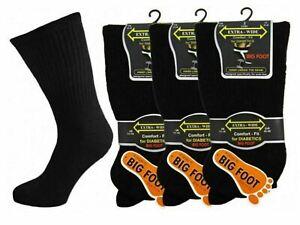 12 Mens/lwomens Diabetic EXTRA-WIDE Cotton Rich BIG FOOT Socks UK 4-7/6-11/11-14
