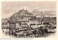 Antique print Le Puy-en-Velay Haute-Loire France 1869 gravure sur bois