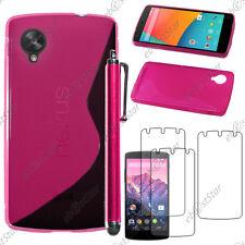 Housse Etui Coque Silicone S-line Rose LG Nexus 5 E980 + Stylet + 3 Film écran