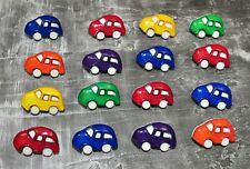 16 Vintage Super Cute Car Buttons Plastic Novelty Red Blue Green Yellow Purple