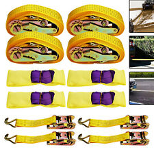 4 Sets Of Tow Rope Set Wheel Straps Recovery Safety Straps Ratchet Trailer UK