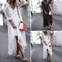 UK 8-24 Women Summer See Through Lace Long Dress Dot Loose Shirt Smock Sundress