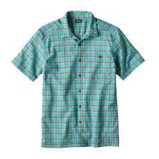 Patagonia A/c Shirt Short Sleeve Button Down Check Print Men XS Blue Green