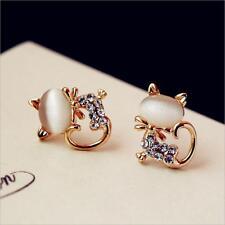 Opal Rhinestone Cat Earrings Kitty Earrings