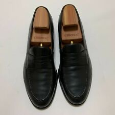 SALVATORE FERRAGAMO Men Shoes Moccasin Black Leather Size 10 D Made in Italy