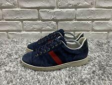 Men's Gucci Ace Low Suede Sneakers Shoes Navy Blue Size 40-41 Logo 125375