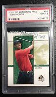 2001 SP Authentic Preview #51 Tiger Woods Rookie card RC PSA 9Mint