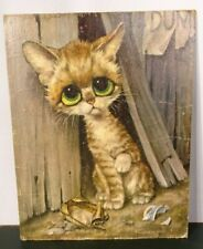 "Vintage ""Big Eyes"" / ""Sad Cat"" Print by Gig / Loose - No Frame / 14"" H x 11"" L"