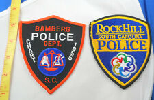 """4-3/4"""" Bamberg and Rock Hill South Carolina Police Cloth Patch Lot of 2"""