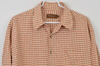 Robert Barakett Large Linen Viscose Blend Plaid Long Sleeve Shirt Made In Italy