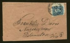 1863 Confederate States of America Stamp #12 on Postal Cover Franklin Davis