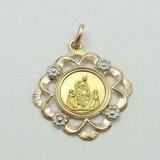 18K Tricolor Gold 750 Italy Our Lady Pompeii Sacred Family Medal Charm Pendant