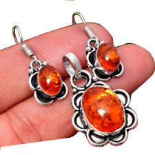 9 Gram Baltic Amber 1pcs sets 925 Sterling Silver Plated Pendant + Earring Sets
